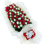 99 red and white roses-Star of Baghdad